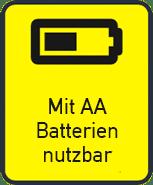 Nutzbar mit Batterien